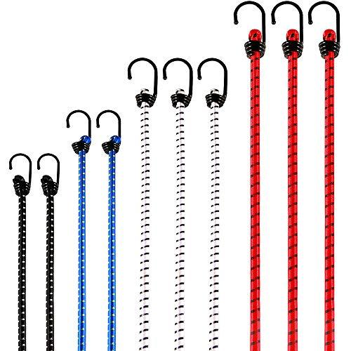 OMALOO 10 Cuerdas Elásticas Cuerda de Equipaje Cuerdas de Sujeción Ganchos Resistentes Bungee Cord con Gancho Cámping Equipaje Correa Bandas tensión