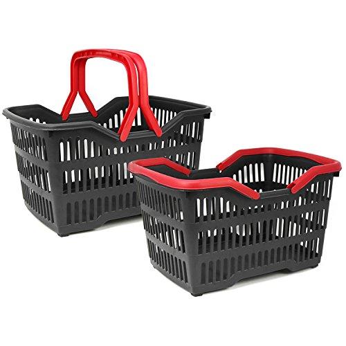 com-four® 2X Cesta de la Compra de plástico con asa - Cesta plastico para el supermercado en Negro/Rojo - 39,5 x 29 x 22,5 cm (002 Piezas - Negro/Rojo)