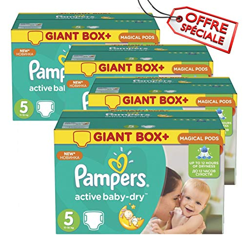 Couches Pampers - Taille 5 active baby dry - 110 couches bébé