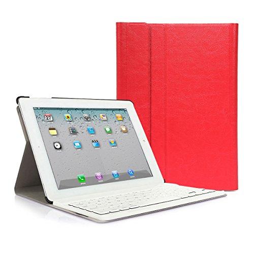 CoastaCloud iPad 2 3 4 Funda con Teclado Bluetooth iPad 2/3/4 Funda Cubierta Protectora con Teclado Inalambrico QWERTY Español (Rojo)