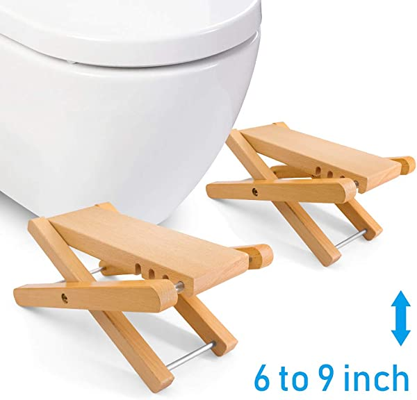 Taillansin Squatting Toilet Stool Fodable Bamboo Wood Bathroom Poop Stool 6 7 8 9 Inch Adjustable For Adults Potty Step Stool For Toilet Posture And Healthy Release One Pair