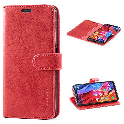 Mulbess Flip Tasche Handyhülle für Xiaomi Mi 8 Hülle Leder, Xiaomi Mi 8 Klapphülle, Xiaomi Mi 8 Handy Hülle, Schutzhülle für Xiaomi Mi 8 Handytasche, Wein Rot