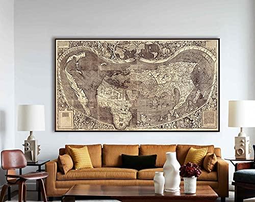 MG global Waldseemüller Mapa del Mundo utilizado por primera vez el nombre América América Mapa del Mundo, arte de la pared, arte del mapa del mundo, arte del mapa, regalos de cartografía sin marco