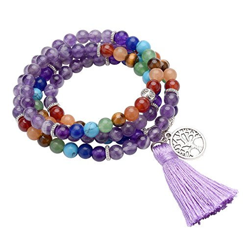 CrystalTears 108 Perlen Edelstein Yoga Armband Chakra Wickelarmband Buddha Tibetische Gebetskette Healing Reiki Stein Mala Kette Halskette mit Lebensbaum Anhänger (Amethyst)