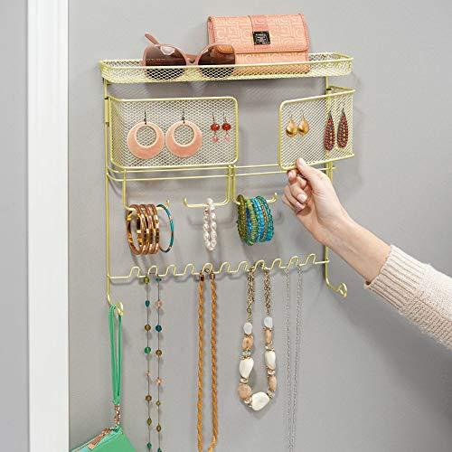 iDesign Classico Muur Mount Sieraden & Accessoire Organizer Voor Kettingen, Armbanden, Oorbellen, Zonnebrillen - Parelmoer, Parel/Messing