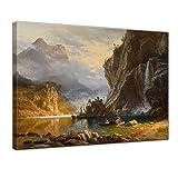 Bilderdepot24 Bild auf Leinwand | Albert Bierstadt Indians Spear Fishing in 120x90 cm als Wandbild | Wand-deko Dekoration Wohnung alte Meister | 180780-120x90
