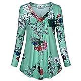 VEMOW Sommer Herbst Elegant Damen Oberteil Langarm O Neck Printed Flared Floral Beiläufig Täglich Geschäft Trainieren Tops Tunika T-Shirt Bluse Pulli(Y3-Mehrfarbig, 46 DE / 2XL CN)