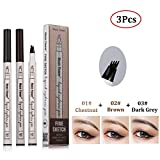 2Pcs Tattoo Eyebrow Pen with Four Tips Long-lasting Waterproof Brow Gel and Tint Dye Cream for Eyes Makeup (3pcs)