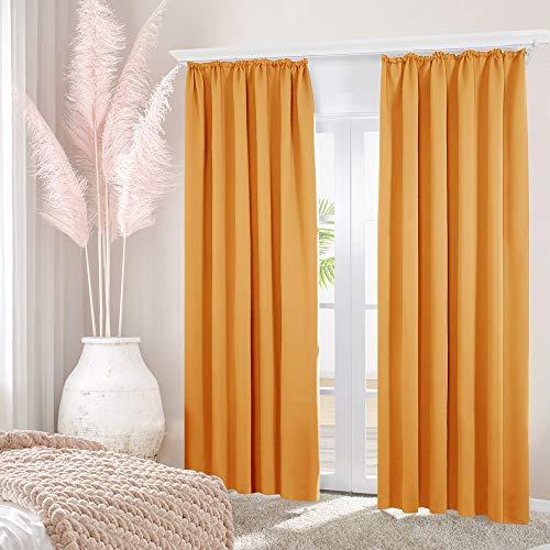 Deconovo Gardinen Verdunklung Vorhänge Schlafzimmer mit Kräuselband 245x140 cm Orange 2er Set