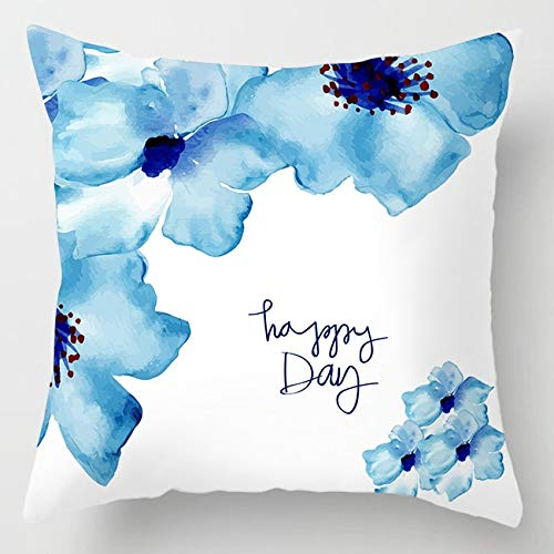 PPMP Funda de cojín de ágata de mármol Intermitente Funda de cojín Decorativa para sofá de Flores geométricas Azules A8 45x45cm 2pcs