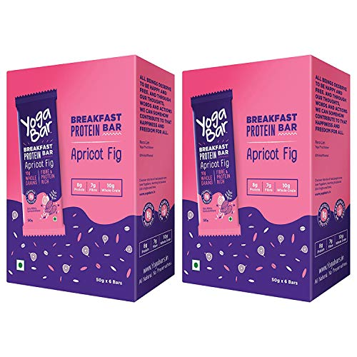 Yogabar Breakfast Protein-Bar Apricot Fig – Pack of 12, Wholegrain Low Fat Snacks with Dates and Oats, High in Protein (8g) and Fibre, Gluten Free Granola Bar with Chia and Flax Seeds