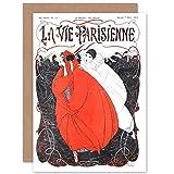 Artery8 La Vie Parisienne Red Woman Pierrot Clown Magazine Cover Sealed Greeting Card Plus Envelope Blank Inside París Mujer Payaso Portada de la Revista Cubrir