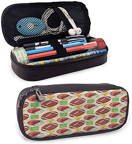 KLKLK Mäppchen Football Leather Pencil case Equipment Icons Trophy Multi-Pattern Pencil Bag Protective Stationery