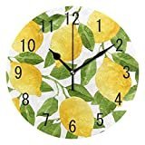 ALAZA Home Decor Watercolor Lemon Fruit Summer 9.5 inch Round Acrylic Wall Clock Non Ticking Silent Clock Art for Living Room Kitchen Bedroom