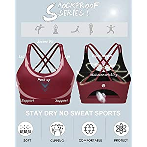 RUNNING GIRL Strappy Sports Bra for Women, Sexy Crisscross Back Medium Support Yoga Bra with Removable Cups(WX2354 Winedred,M)