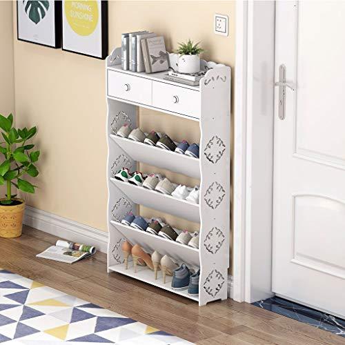 XWZH Gabinete de Zapatos a Prueba de Polvo Estera de Zapatos Blanca, Moderno Tallado 4 Niveles Zapato de Zapatos Rack Organizador Unidad de Estante para Entrada de Pasillo, 64 cm × 17cm × 105cm