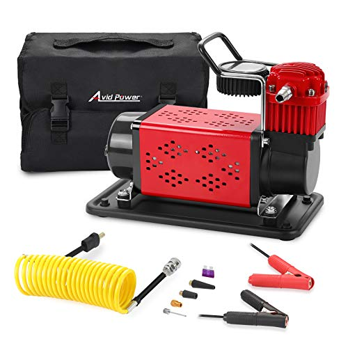 Avid Power Tire Inflator Air Compressor, Heavy Duty Tire Pump 150 PSI, 12V DC Air Pump for Car, Truck, SUV, RV Tires, 5M Extension Air Hose Included