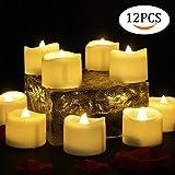 12 PCS Velas LED Luz de la vela del LED Luces Led Amarillo Cálido con Forma de Vela Para la boda, cumpleaños, celebración, Día de San Valentín, fiesta, Halloween, Navidad, decoración del hogar, etc.