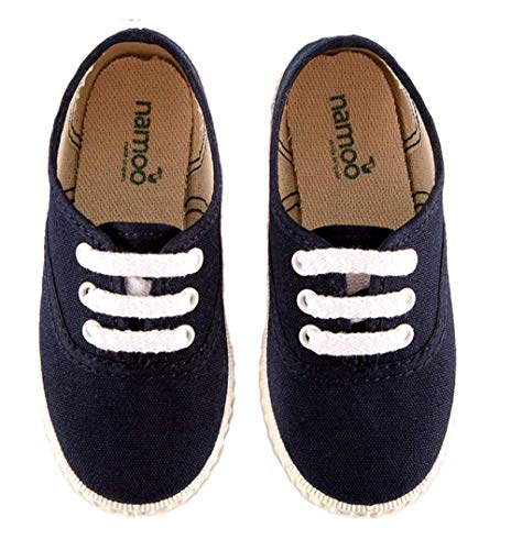 Namoo Kids Lace Sneaker for Boys and Girls, Cotton and Rubber Sole, Baby-Toddler-Kid Shoe (Navy, 7.5 M US Toddler)