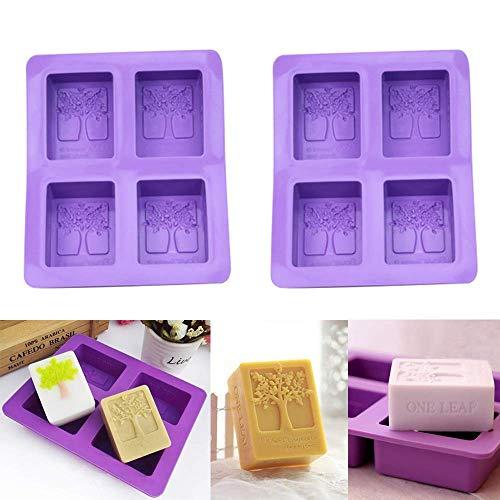 2 pièces 4 forme d'arbre de cavité Moules à savon à la main Moule en silicone rectangulaire pour la cuisson de gâteaux à glace rectangulaire, outils de cuisson, réutilisables