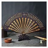 HSLINU Abanico Plegables de Seda clásicos con patrón de poesía Antigua China y Marco de bambú Hueco Ventilador Plegable de Mano Abanico Chino para Festivales, desfiles y Decoraciones