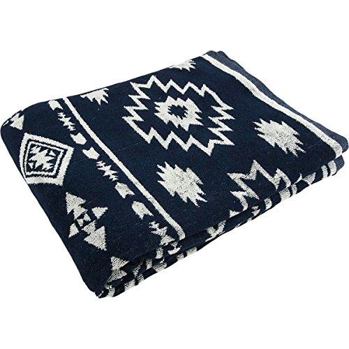 タオルケット 綿100% ジャガード織 オルテガ柄 セミダブルサイズ 160×200cm (ネイビー)