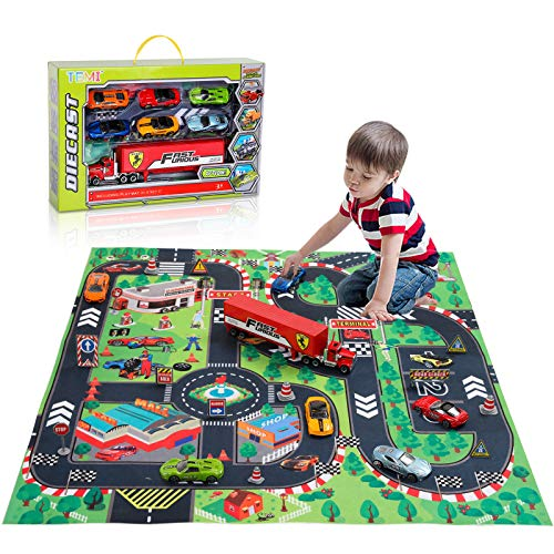 TEMI Diecast Racing Cars Toy Set w/ Activity Play Mat, Truck Carrier, Alloy Metal Race Model Car & Assorted Vehicle Play Set for Kids, Boys & Girls