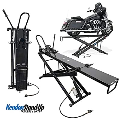 Kendon Folding Stand-Up ATV Motorcycle Table Lift   Dirt Bike Lift Table   Air & Hydraulic Jack   Heavy-Duty 1000 lb Capacity