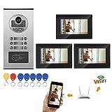 Pangding Videocitofono Campanello, 7 Pollici WiFi RFID Telecamera 3 Appartamento Citofono Digitale...