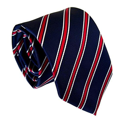 Secdtie Men Classic Striped Blue Red Jacquard Woven Silk Tie Microfiber Necktie, Blue