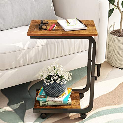 JOISCOPE Beistelltische mit Rädern, bewegliche Tische im Industrie Design, geeignet für kleine Räume, Wohnzimmer, Schlafzimmer, Wohnheim, Büro (Retro Eichenoberfläche)