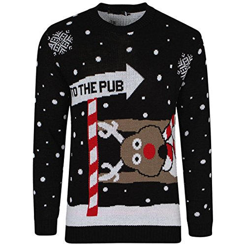 MyMixTrendz Mens Xmas Novelty Knitted Christmas Reindeer, to The Pub Jumper Size S-2XL
