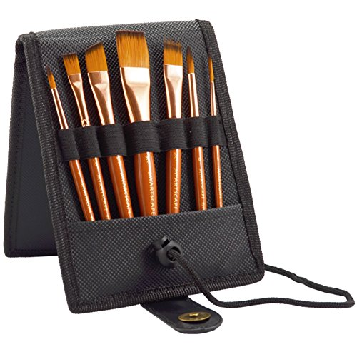 Travel Paint Brush Set, 7 Ultra Short-Handle Brushes with Case Holder - for Watercolor, Gouache and Acrylic - Synthetic Hair - Ideal for Plein Air Painting - Art Supplies by MyArtscape