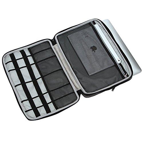 iCozzier 13-13,3 Zoll Notebook Hülle Sleeve Tasche mit Griffen/Multifunktionale Aufbewahrungs Zubehörtasche für 13 Zoll Laptop/Ultrabook/Notebook/Netbook/MacBook - Grau - 2