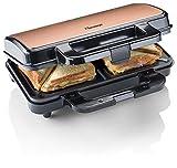 Bestron ASM90XLCO Sandwichera XL Antiadherente, para 2 sándwiches, 900 W, Color Negro y Cobre, Metal