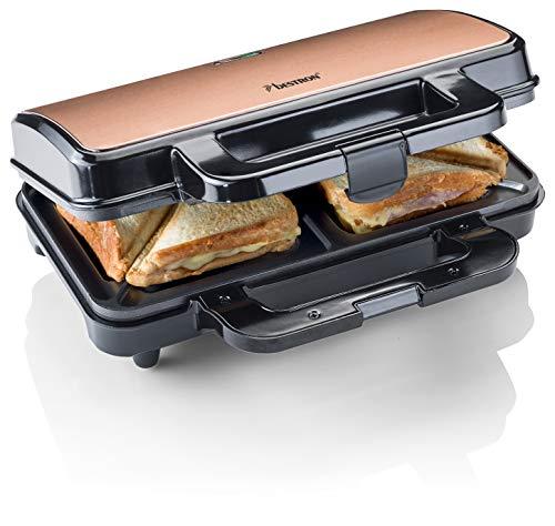 Bestron ASM90XLCO XL Sandwichmaker, Antihaftbeschichteter Toaster für 2 Sandwiches, 900 Watt, Schwarz/Kupfer, Metal