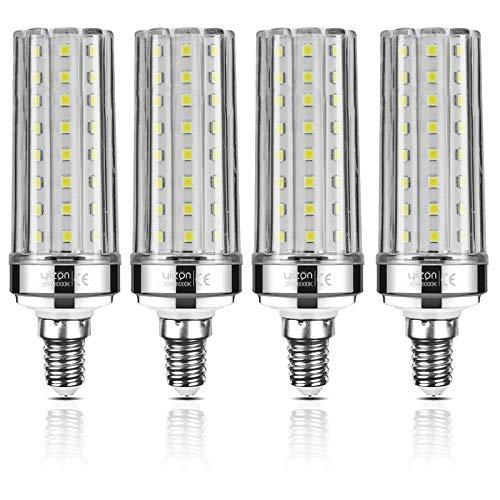 Yiizon Bombillas LED de maíz E14 20W equivalentes a bombillas incandescentes de 150 W 6000K Blanco Frío 2000LM bombillas de tornillo E14 Edison, bombillas LED de candelabro no regulable 4 Paquete