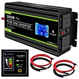 NOVOPAL Pure Sine Wave Inverter -3000W 12V to 230V 240V Car Converter Power Inverter with LCD Display 2AC Outlets and 2.1A USB Port-Remote Control for Motorhomes,Truck,Boat,Camping,Household,Van