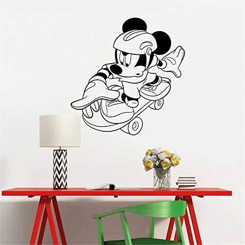 etiqueta de la pared decoración Skateboarding Mickey Mouse para niños Sala de juegos Ation para murales caseros