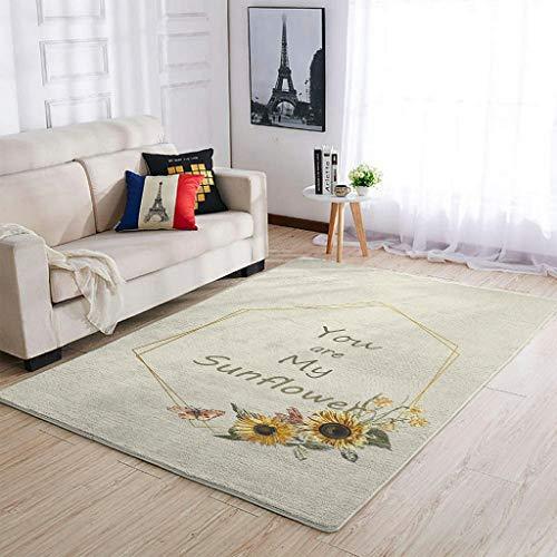 COMBON Shop Alfombra de diseño de girasol, muy linda, cómoda, para dormitorio, sala de estar, color blanco, 50 x 80 cm