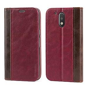 Mulbess Funda Motorola Moto G4 Plus [Libro Caso Cubierta] Billetera Cuero de la PU Carcasa para Motorola Moto G4 / G4 Plus Case, Vino Rojo
