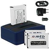 3x Batterie + Double Chargeur (USB/Auto/Secteur) pour Samsung SLB-10A / Toshiba Camileo X-Sports /...