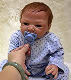 OUBL 18pulgadas 45 cm Bebe Reborn muñeca niño Silicona Real Ojos Abiertos Realista Baby Doll Boy Tod...