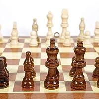 チェスセット、チェスセット木製、木製の折りたたみ式チェス、折りたたみ式国際チェス盤ゲーム旅行旅行パズルゲーム、子供と大人のための、34 x 34cm