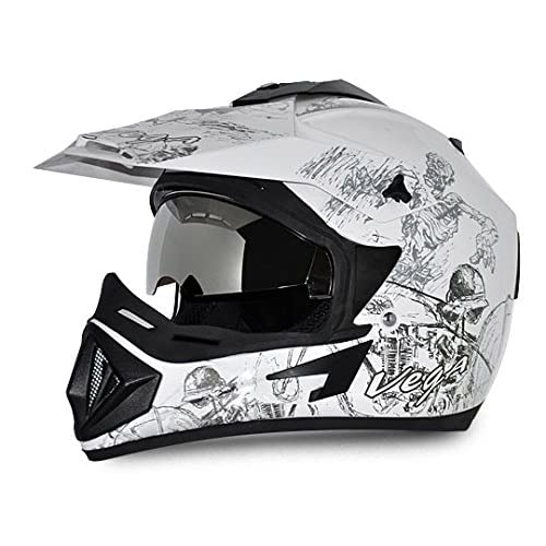 Vega Off Road OR-D/V-SKT-WS_L Sketch Motocross Graphic Helmet (White and Silver, L)