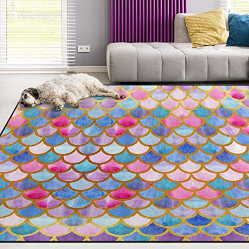 Naanle Colorful Rainbow Area Rug 5'x7', Watercolor Mermaid Scales Polyester Area Rug Mat Living Dining Dorm Room Bedroom Home Decorative