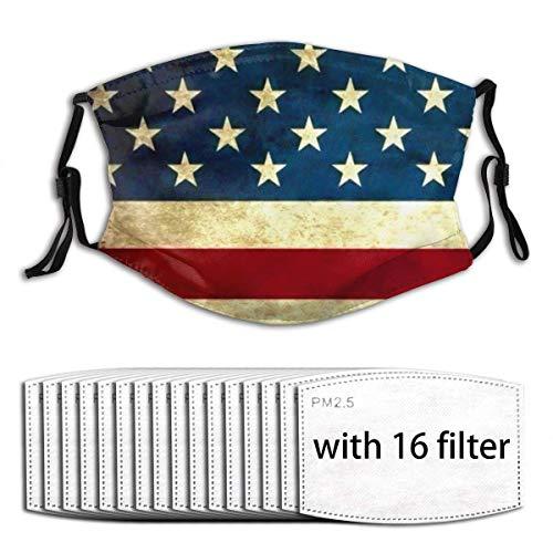 UV-Schutz Atmungsaktiver Mundschutz mit austauschbaren Filtern, Vintage Distressed Patriotic American Flag Sterne Streifen Anti-Pollenfilter Schutzhülle