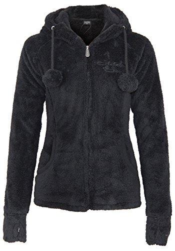 Stitch & Soul Damen Teddy Fleecejacke mit Kapuze und Öhrchen | Warme Flauschjacke mit hohem Kragen, Größe:XL, Farbe:Black