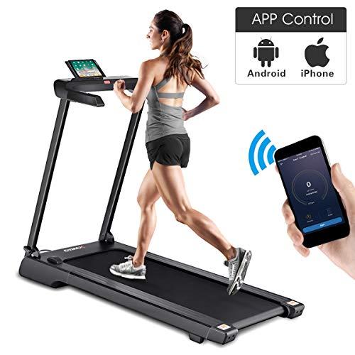 Goplus 2.25 HP Folding Treadmill Electric Cardio Fitness Jogging Running Machine Portable Motorized Power Slim Treadmill with Sports App and LED Display (Black)