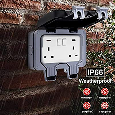 Outside Sockets Waterproof Double Socket, Wall Electrical Outlets, IP66 Switched Socket Covers,13A Outdoor Wall Weatherproof Plug Socket Box